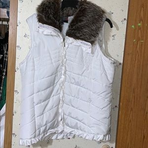 S Sz xl puffer vest w/fur collar